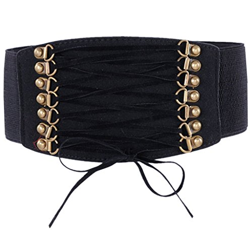 Ayliss Women Elastic Waistband Wide Band Tied Waist Cincher Belt,Black