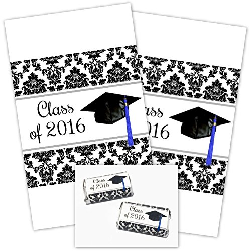damask graduation miniature candy wrappers  class of 2016
