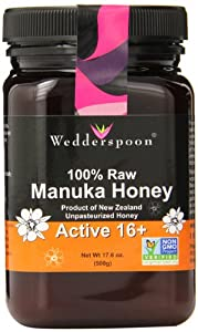 Wedderspoon Raw Manuka Honey Active 16+, 17.6-Ounce Jar