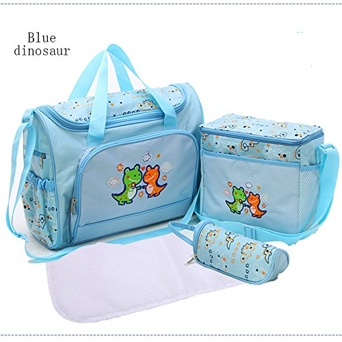 Hi 9 Shop Baby High Capcity Cartoon Diaper Bags for Pretty Mummy BONUS Changing pad bottle bag and baby bag HY-T005 (Blue (Baby Dinosaur Cartoon)