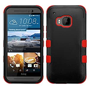 MyBat HTC One M9 Tuff Hybrid Phone Protector Cover - Retail Packaging - Natural Black/Red