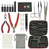Liekkas DIY Tool Kit 5 in 1 Coil Jig Kit + Needle Nose Pliers + Scimitar Stainless Steel Tweezers + Scissor + Ceramic Tweezers + ohm Meter + 8-in-One Pen-shaped Screwdriver + Wire Cutter