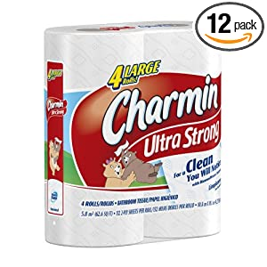 Charmin Ultra Strong Toilet Paper Large Rolls, 4-Count (Pack of 12)