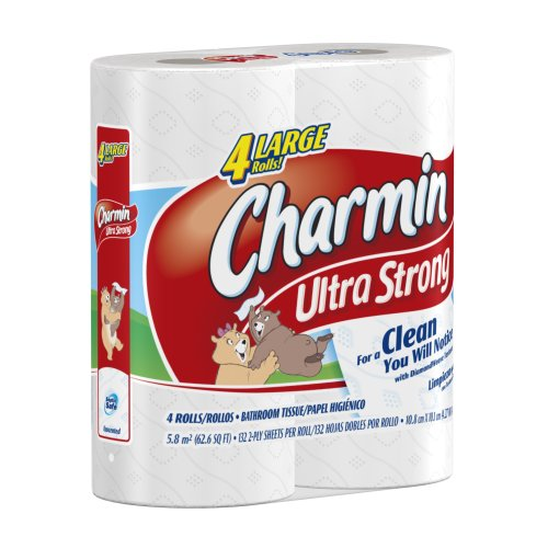 Charmin ultra strong toilet paper 4 large rolls pack of 12