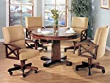 Three-in-One Solid Oak Wood Pool Poker Game Dining Table Chairs set thumbnail