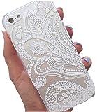 JIAXIUFEN Henna White Floral Paisley Flower Mandala Cuir Coque Strass Case Etui Coque étui de portefeuille protection Coque Case Cas Cuir Swag Pour iPhone 5 5S