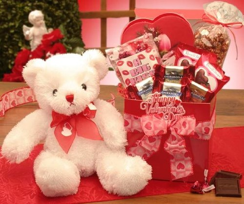 A Big Kiss For You Valentines Day Gift Basket with Teddy Bear & Chocolates - Present for Men, Women or Kids