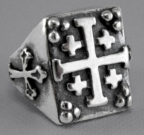 A Eye Catching Sterling Silver Gothic Cross Ring