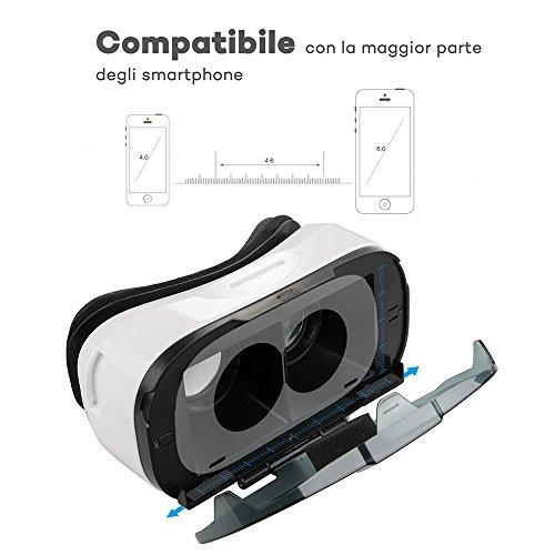 Occhiali VR HooToo Virtual Reality, VR Box 3D , Headset con Videocamera 360 gradi Viewing Immersive per film/telefilm/video/giochi, Distanza e IPD Regolabile, Occhiali Virtuali 3D per iPhone, Smartphone Android, ecc