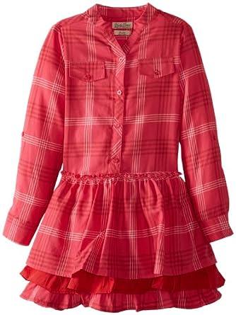 Lucky Brand Big Girls' Plaid Drop Waist Shirt Dress, Sparkling Fuschia, Medium