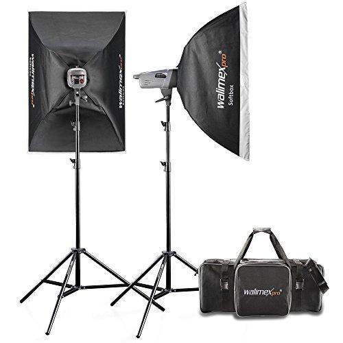 Walimex Pro Kit de studio VE Excellence 4.4 (incl. 2 flashes studio 400W, 2x trépieds de lampes, 2 Softboxes, sac studio XL et déclencheur)
