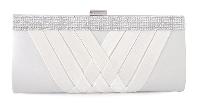 Chicastic Satin Pleated Evening Wedding Hard Clutch Bag with Rhinestone Setting - White