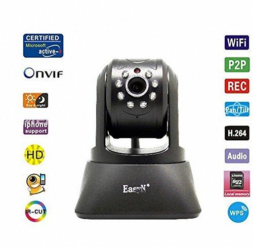 EasyN Wireless WiFi IP Kamera H3-196 720HD Wireless IR LED 2-Audio Nightvision Tilt IP Kamera MAC / Windows / Linux kompatibel Schwarz