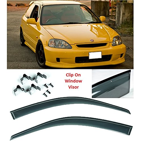 96-00 Honda Civic EK Hatchback 3dr Window Visors JDM Style Deflector CLIP ON