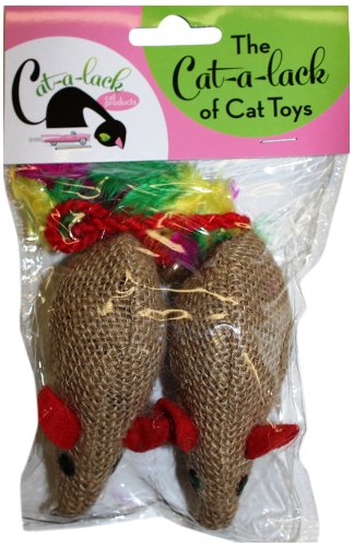 Cat-A-Lack 2-Piece Burlap Mice Balls for Pets a cat a hat and a piece of string