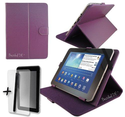 "Lila PU Lederner Tasche Case Hülle für Modecom FreeTAB 9702 IPS X2 9.7"" Zoll Tablet PC + Displayschutzfolie & Stylus"