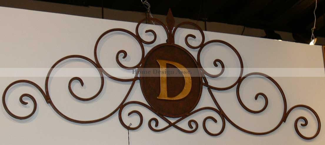 Personalized embossed letter monogram metal wall art for Large metal monogram letters