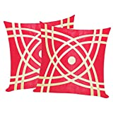 Abstractive Design Red N Beige Cushion Covers 40x40 Cms (Set Of 2)