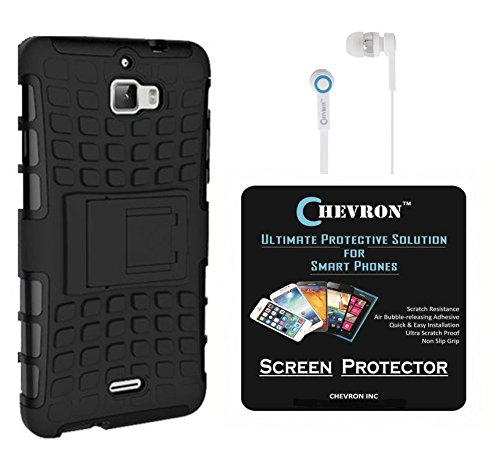 Chevron Hybrid Military Grade Armor Kick Stand Back Cover Case for Coolpad Dazen 1 with HD Screen Guard & Chevron 3.5mm White Stereo Earphones (Black)