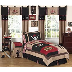 Treasure Cove Pirate Childrens 4 Piece Boys Twin Bedding Set