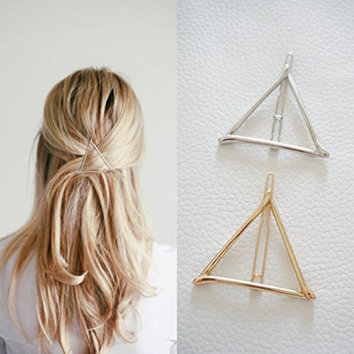 ANKKO 1 pezzi cava triangolo geometrico metallo Perni di capelli Forcina Fermaglio per capelli (Oro)