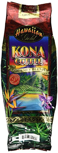 Hawaiian Gold Kona Ground Coffee Gourmet Blend 1 lb (454g) package (Hawaiian Coffee Kona compare prices)