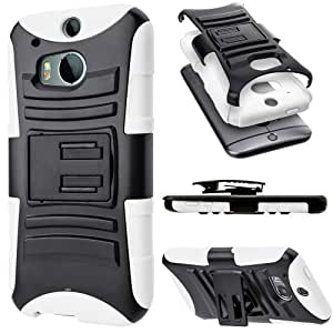 Cimo [HEAVY DUTY] HTC One M8 Case [ARMORGUARD] Premium Dual Layer Protection Cover with Kickstand and Locking Belt Swivel Clip for The All New HTC One / HTC One 2 / HTC One 2014 (2014) - White