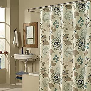 Shower Curtain Light Green Flower Brown Leaves Print Thick Fabric Water Resistant