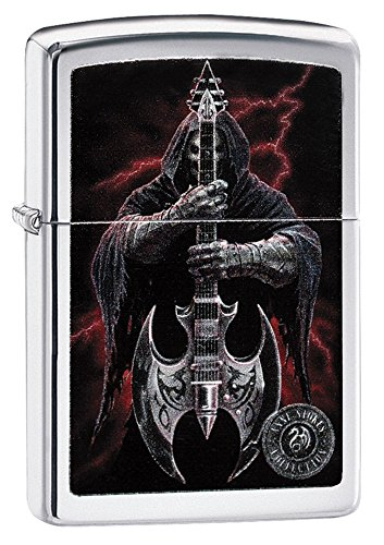 Zippo Grim Reaper Guitar Pocket Lighter, High Polish Chrome