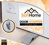 Door Stopper 6 Pack Set [BONUS HOLDERS & EBOOK] - SofiHome Premium Heavy Duty Door Stop Rubber Wedge with Decorative Storage Holder - Ideal Doorstop for Draft Stopping & more - Gray Door Stops