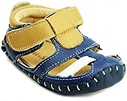 Kids Child Baby Boys Genuine Leather Moccasin Slip-on Non-slip Sandals Shoes, Blue Brown sz17