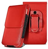 CellBig Red Hot Custom Made Faux Leather Vertical Belt Clip Hook Holster Case Cover Pouch Wallets For Your Apple iPod Touch 4th Generation / Apple iPod Classic
