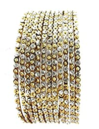 Aria Bollywood Style Antique Gold Plated 12pc Bangle Chuda For Women 12pc