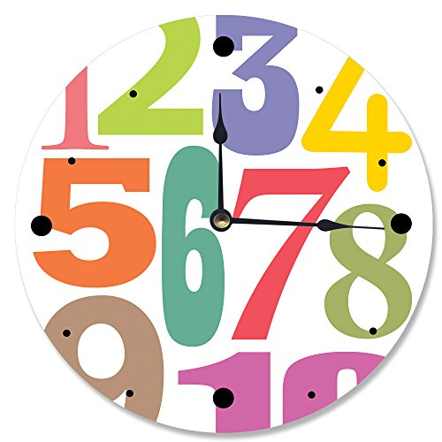 The Kids Room by Stupell Multi-Colored Numbers Wall Clock