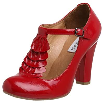 Steve Madden Women's Impereal T-Strap Ruffled Pump,Red Patent,5 M US
