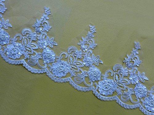 2 Yards White Beaded Sequins Lace Trim 7-1/2''/19Cm Bridal Gown Skirt Veil Wedding Dress Accessories Bone 3D Metallic Lace Trim