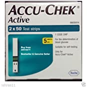 100 Test Strips Of Accu-Chek Active Blood Sugar Monitoring Device/ Glucometer