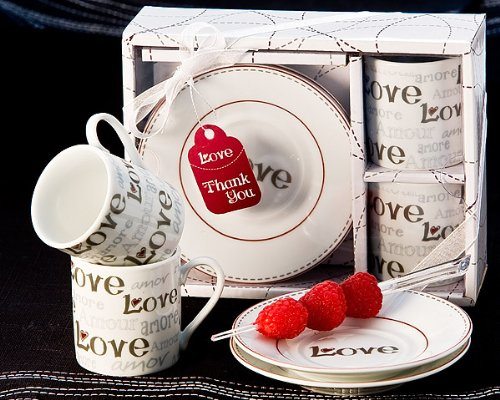 Language Of Love Espresso Cup Favor Set - Wedding And Party Guest Keepsake Gift (Bulk Buy Sale) front-73046