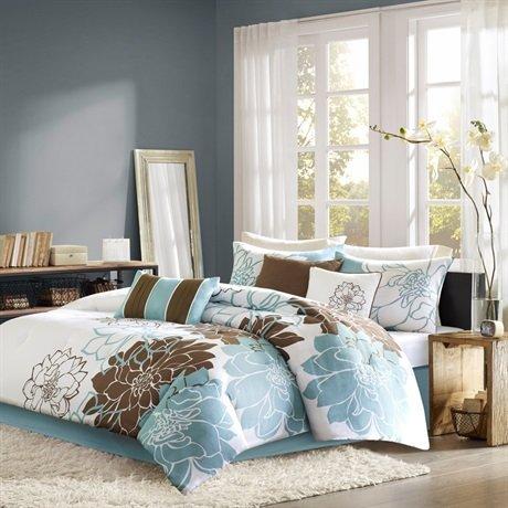 Madison Park Lola 7 Piece Print Comforter Set - Blue/Brown - King front-206961