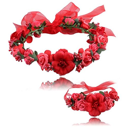 Vovotrade Wedding Hair Accessories Wrist Flower Garland Seaside Holiday Pictures (Red)