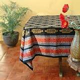 Kilim Noir ~ Designer Black Gold Banquet Party Tablecloth 70x120