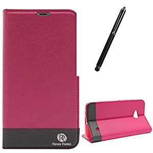 DMG Microsoft Lumia 640 XL Flip Cover, DMG PRaiders Premium Magnetic Wallet Stand Cover Case for Microsoft Lumia 640 XL (Pink) + Touch Screen Stylus