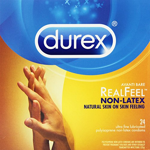 Durex Real Feel Polyisoprene Non Latex Lubricated Condoms, 24 Count (Pack of 3)