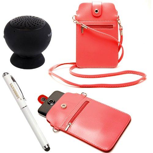 Fashionable Vertical Pouch Carrying Shoulder Bag Case For Nokia Lumia 1520 / 1320 / Icon / Xl / X+ / X / 1020 / 625 / 928 / 925 / 720 / 520 / 521 / 525 Windows Phone + Stylus Pen + Black Bluetooth Speaker (Coral Orange)