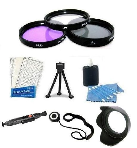 Lens Accessory Package Includes 52Mm 3Pc Filter Kit + Lens Cap Keeper + Lens Hood + Lens Cleaning Pen + Mini Tripod + Lcd Screen Protectors + Camera Cleaning Kit For Canon 60Mm F2.8, 28Mm F2.8