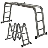 Ladder Folding Step 11FT Ladder Scaffold Extendable Heavy Duty Multi Purpose Aluminum
