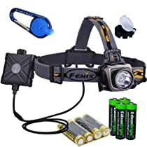 Fenix HP15 500 Lumen long throw LED Headlamp (Grey) with diffuser, Smith & Wesson LED CaraBeamer Clip Light and Four EdisonBright AA Alkaline batteries