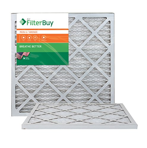 AFB Bronze MERV 6 18x22x1 Pleated AC Furnace Air Filter. Pack of 2 Filters. 100% produced in the USA.