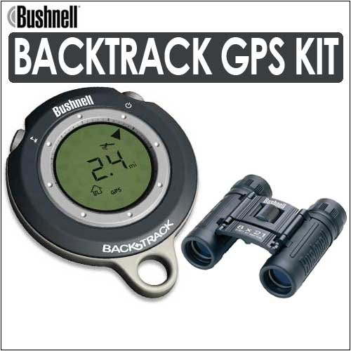 Bushnell 360063 Gps Backtrack Personal Locator International Version In Meters Tech Gray Kit With Bushnell 132514 Powerview 8X21 Folding Roof Prism Binoculars