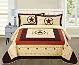 3-piece Texas Star Western Lone Star Barb Wire Cabin / Lodge Quilted Quilts Bedspread Bed Coverlet Set, Queen Size, Beige, Brown, Orange